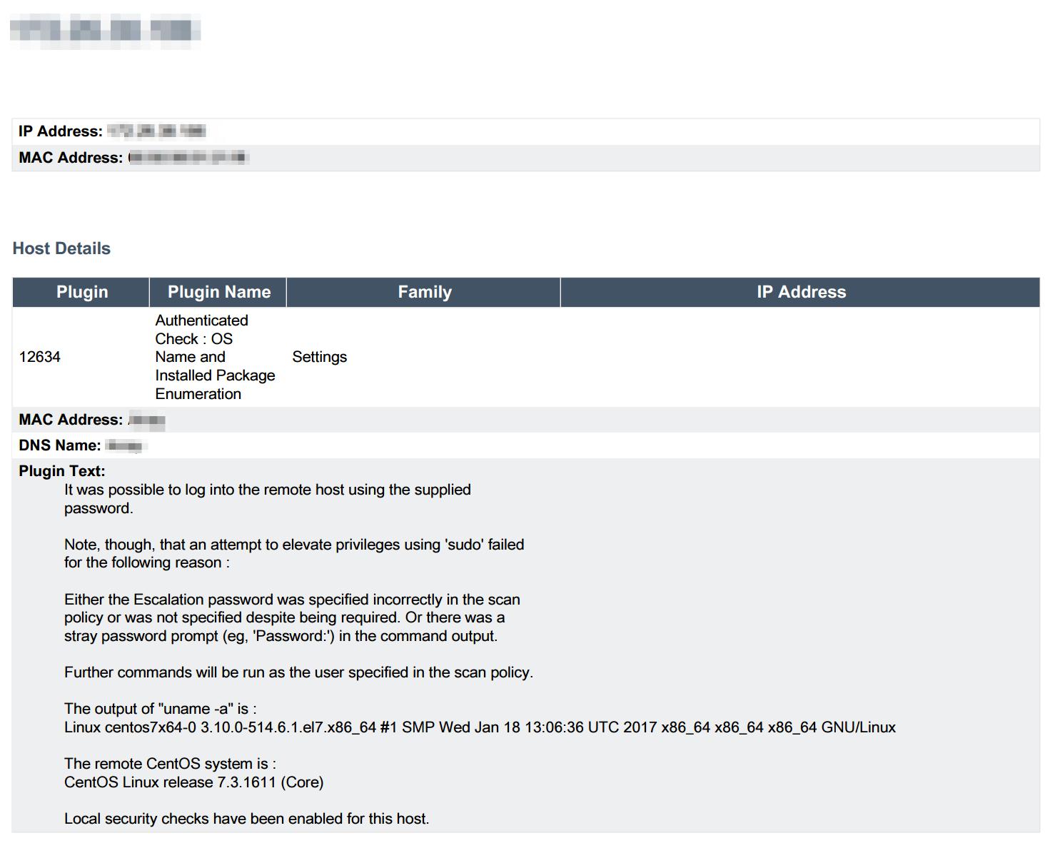 Elevated Privilege Failures report IP detail