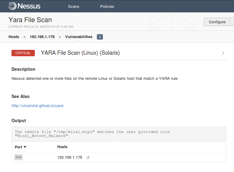 YARA File Scan to locate the malware