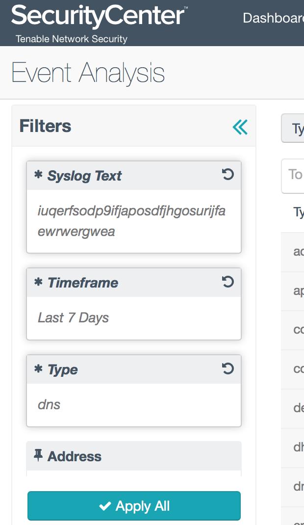 Event Analysis filter
